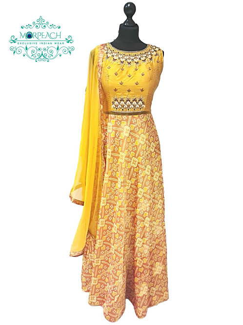 Mustard Yellow Patola Print Silk Dress