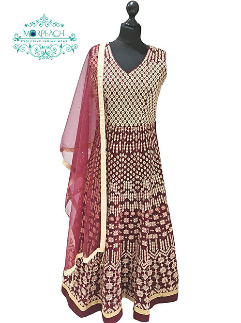 Maroon Heavy Embroidered Net Gown (R)