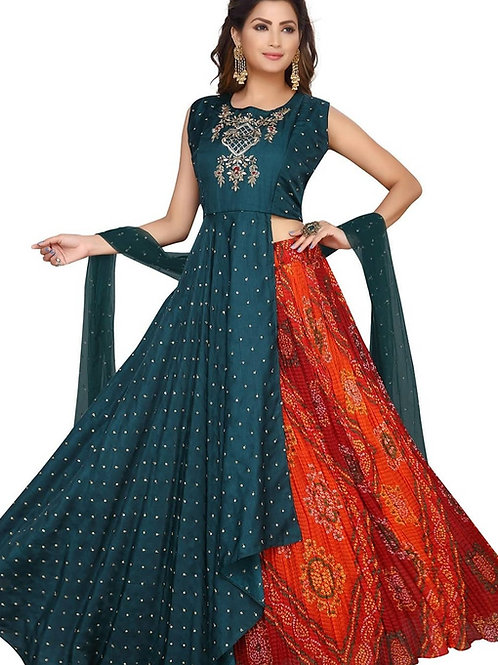 Green And Red Bandhni Lehenga Dress (4XL)