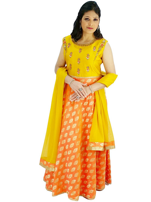 Mustard And Orange Dress (2XL)