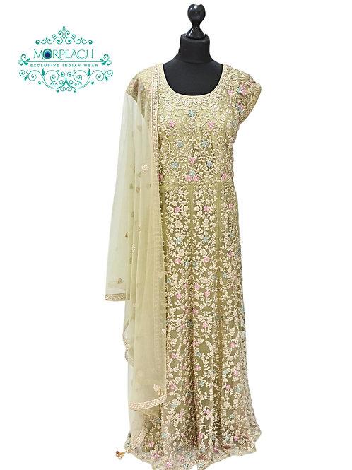 Light Green Embroidered Dress (4XL)