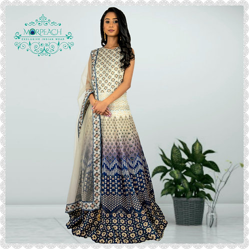 Stunning Blue and Grey  Swaroski Diamond (R)Studded Gown