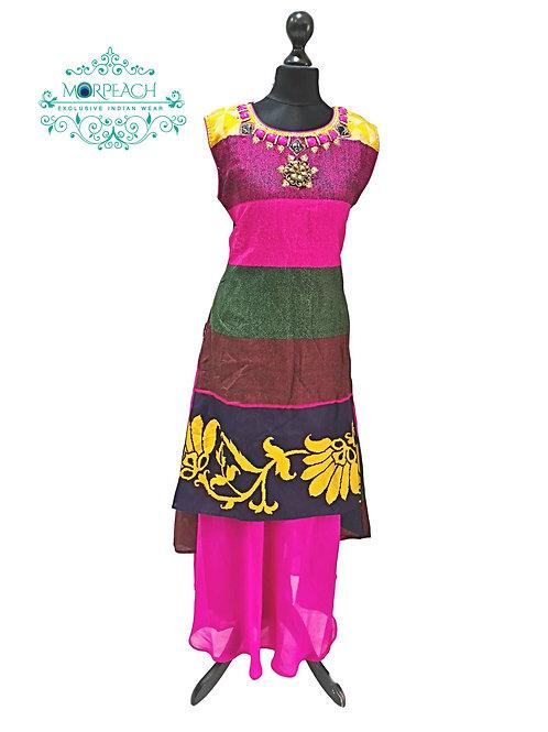 Pink Layered Kurti in Silk (XL)