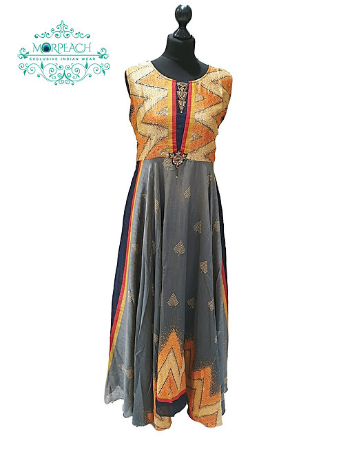 Grey Orange Flowy Chiffon Kurti