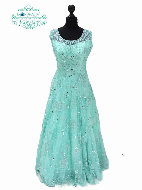 Sea Green Partywear Mirrored Gown (XL)