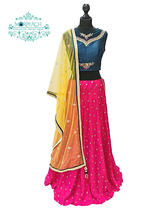 Pink Blue Embossed Silk Lehenga (Reg)