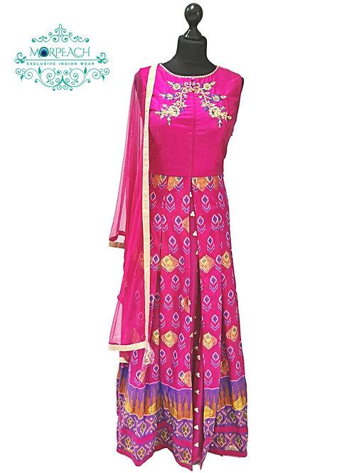 Pink Patola Print Layered Dress (R)