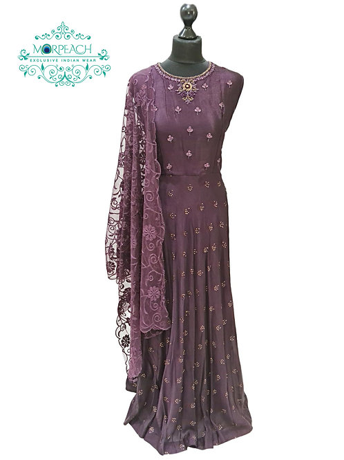 Purple Chiffon Dress With Sequence