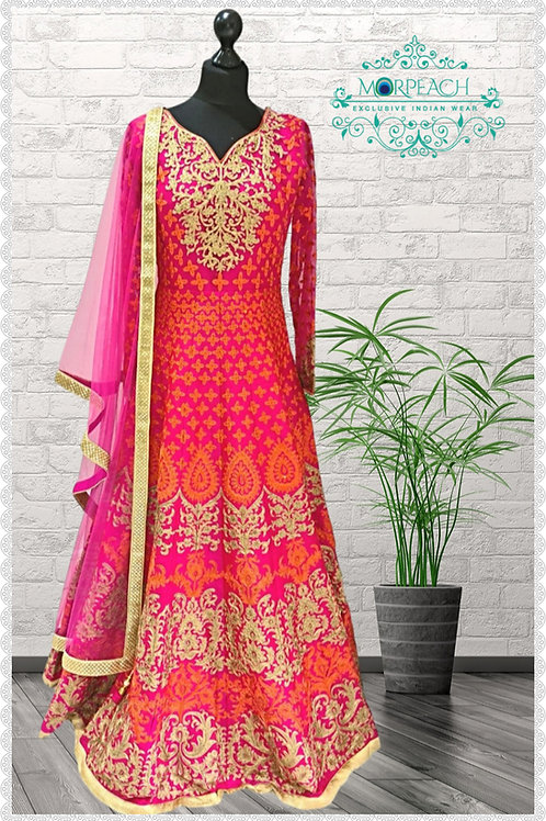 Pink Orange Heavy Embroidered Bridal Gown (R)