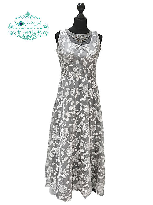Grey And White Shimmer Gown