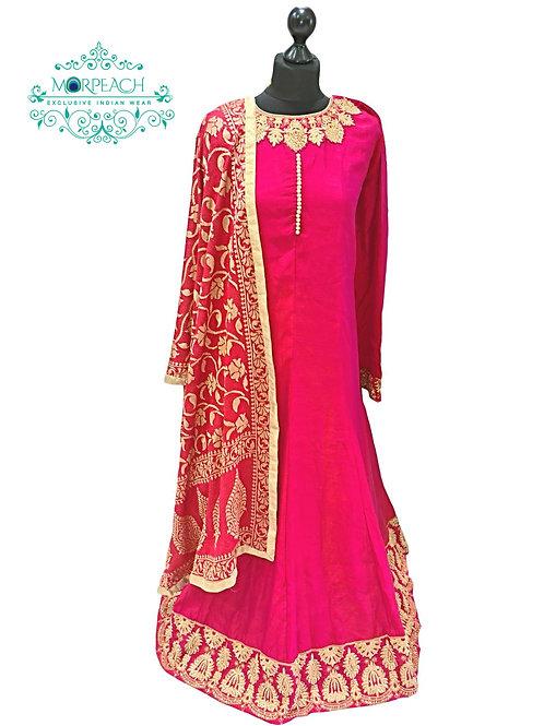 Reddish Pink A-Line Silk Dress (5XL)