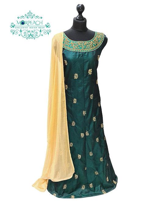 Dark Green And Gold Silk Dress (3XL)