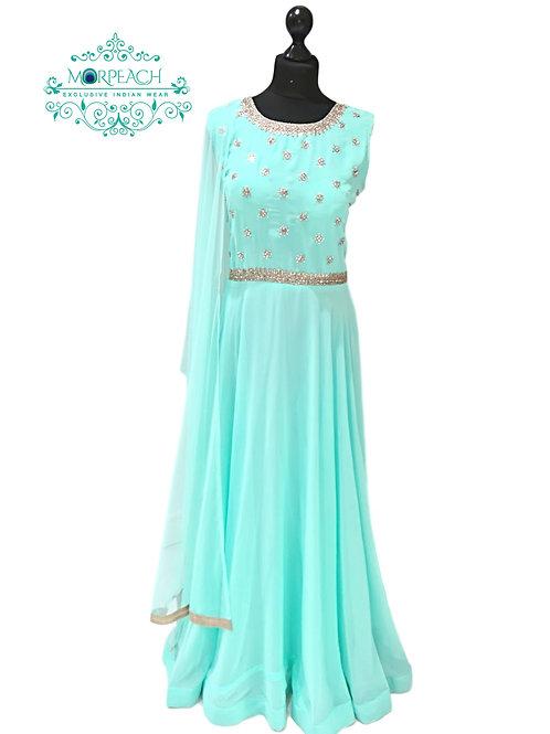 Blue Full Flared Georgette Dress (XL)