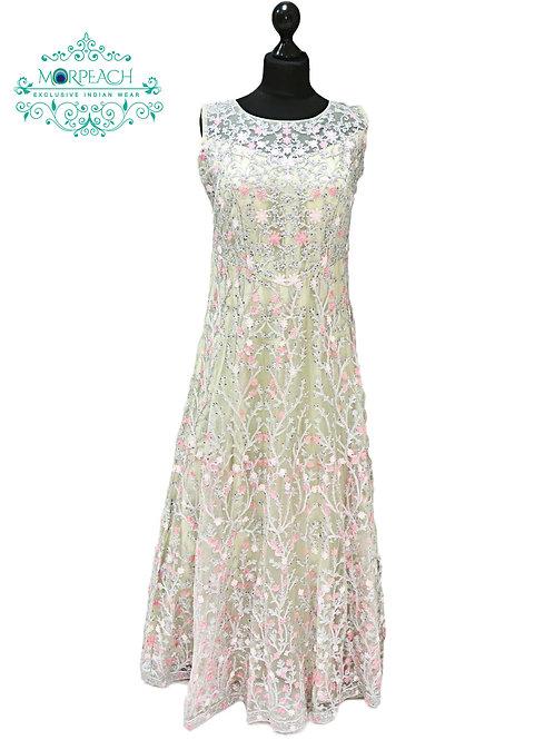 Pastel Green Threadwork Net Gown