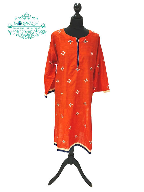 Orange Straight Cut Silk Kurti (7XL)