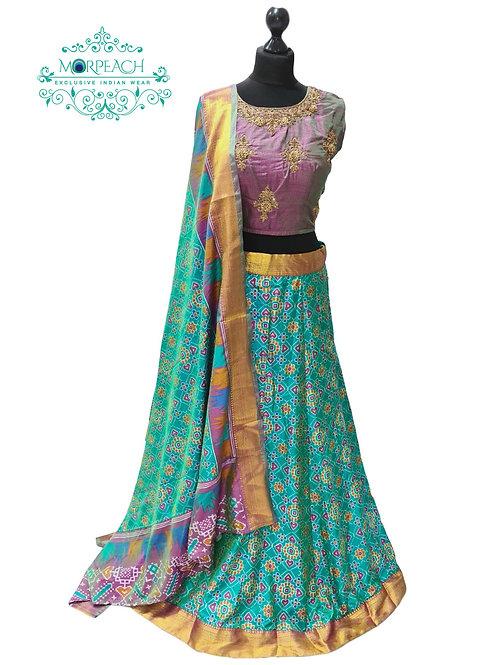 Turquoise & Purple Patola Print Lehenga (XL)