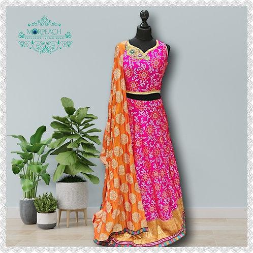 Pink Bandhni Print Silk Lehenga (Reg)