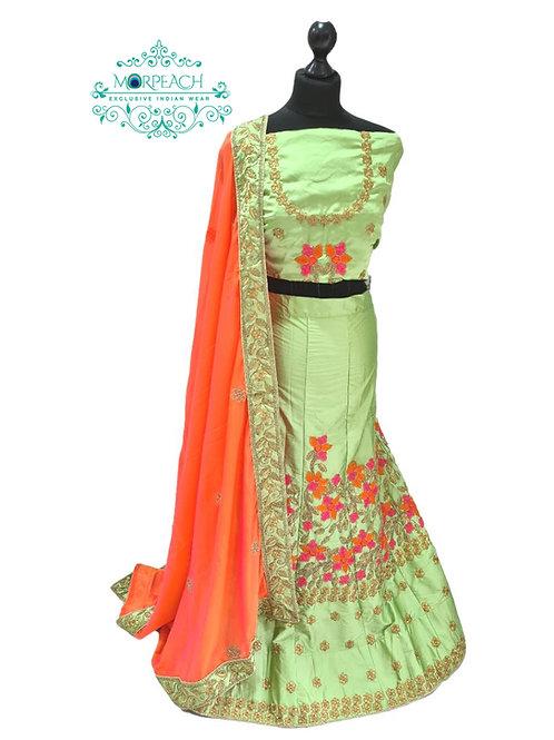Green Orange Semi Stitched Silk Lehenga (4XL)