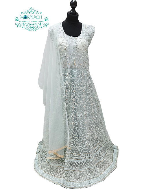 Sea green Thread and Sequence Dress (4XL)