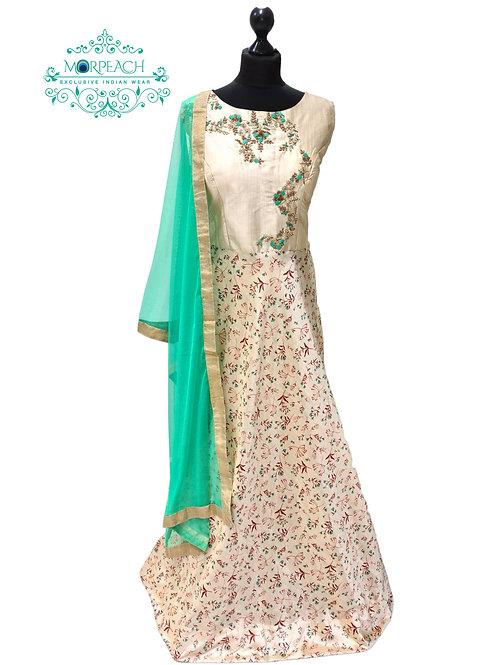 Cream Self Print Silk Dress (XL)