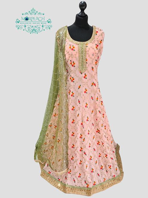 Pink Threadwork Chiffon Dress (4XL)