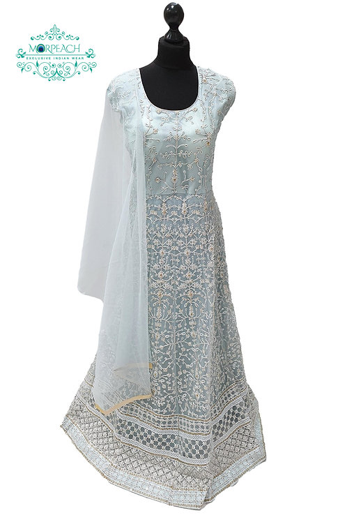Light blue Therad and Sequence Dress (4XL)