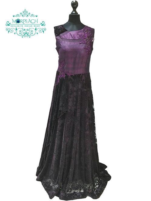Dark Purple Glitter Ball Gown