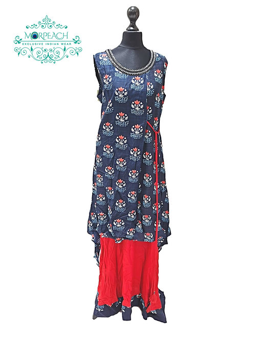 Blue And Red Skirt Style Kurti (XL)