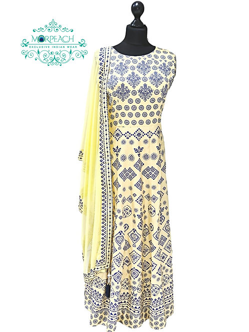 Yellow And Blue Printed Silk Dress (XL)