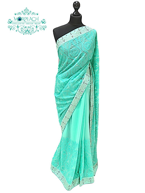 Green Threadwork Chiffon Saree