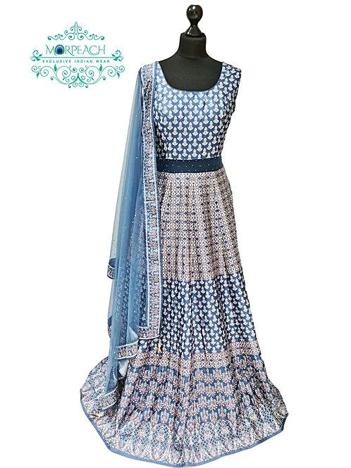 Blue Grey  Swaroski Diamond Studded Gown