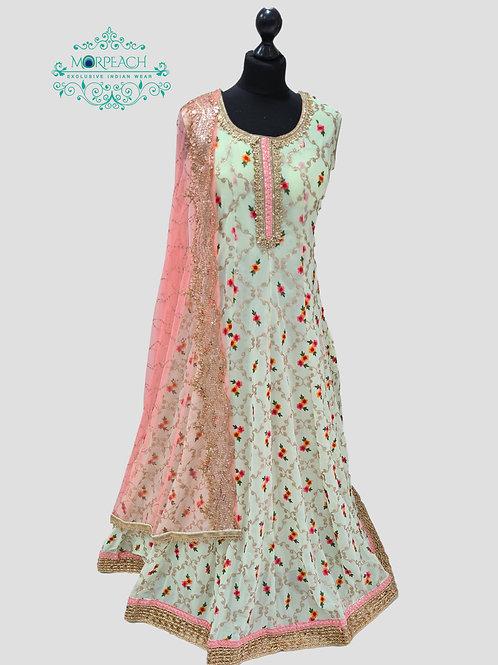 Pastel Green Threadwork Chiffon Dress (4XL)