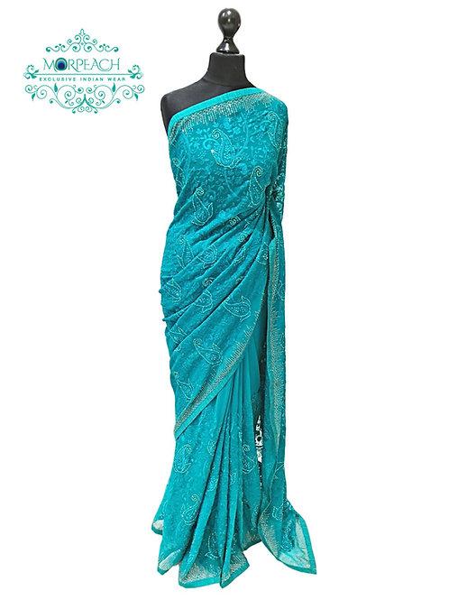 Blue Green Embroidered Chiffon Saree