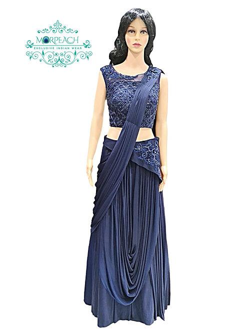 Blue Ready To Wear Saree
