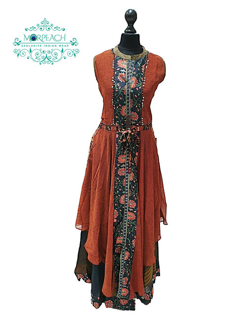 Orange Brown Double Layered Kurti (3XL)