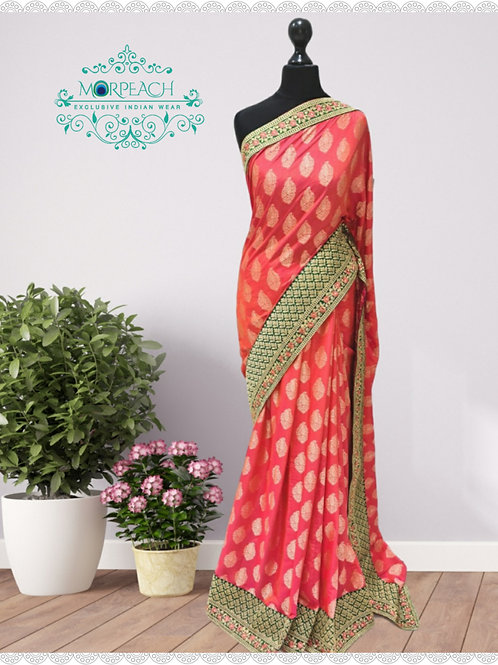Carrot Red And Green Silk Saree