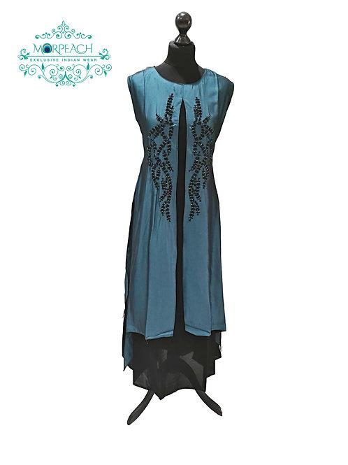Shiny Teal Partywear Kurti (2XL)