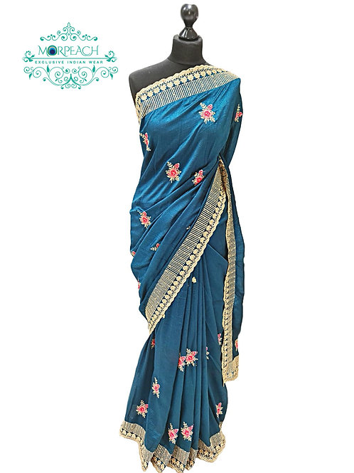 Greenish Blue Embroidered Saree