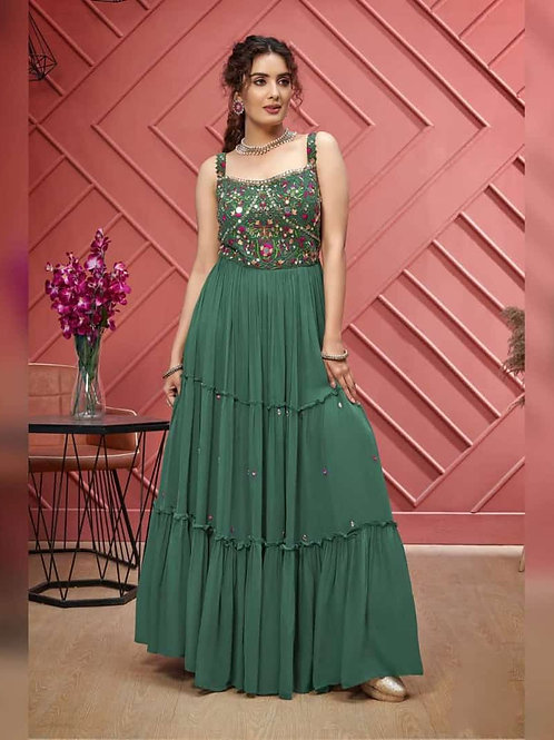 Blue Green Mirrorwork Dress (R)
