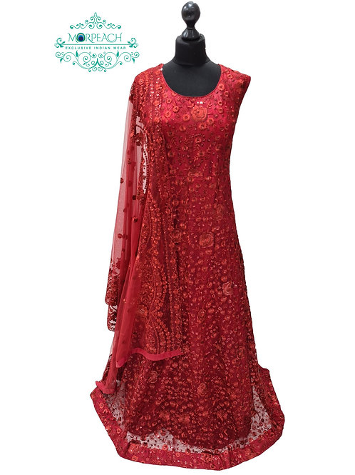 Maroon Embroidered Sequence Dress (4XL)