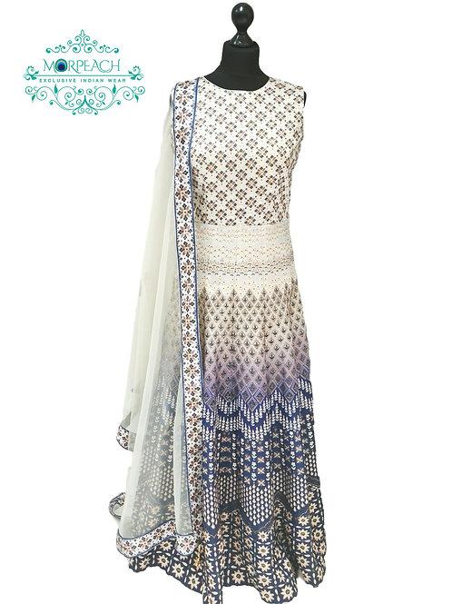 Stunning Blue and Grey  Swaroski Diamond Studded Gown