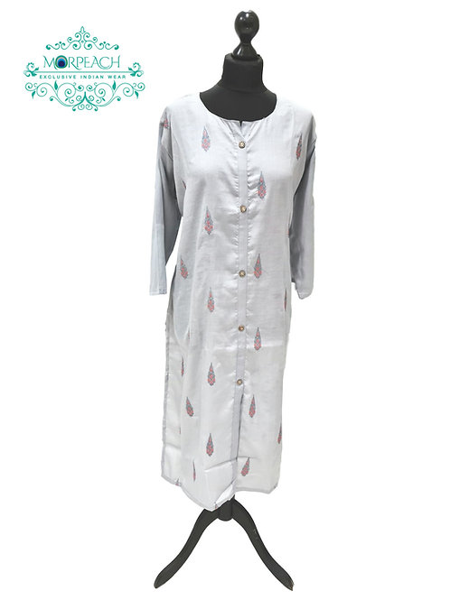 Light Grey Straight Cut Kurti