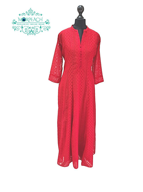 Bright Red Chiffon Based Luckhnowi Kurti