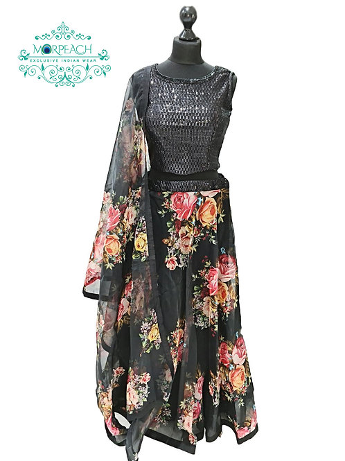 Black Floral Sequence Lehenga (Reg)