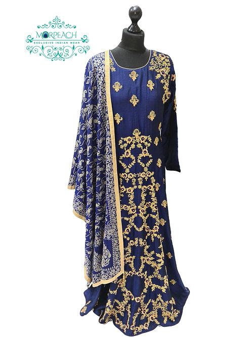 Blue A-Line Silk Dress (XL)