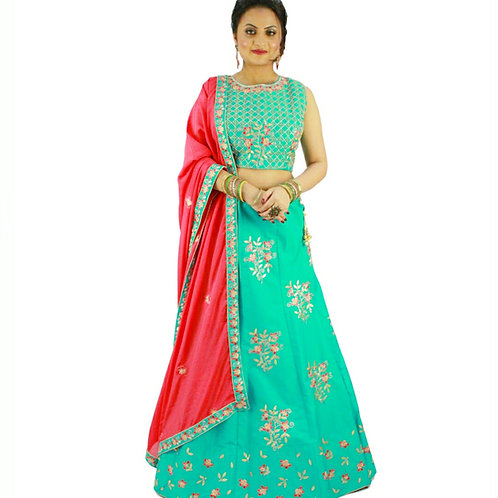 Sea Green and Pink Lehenga
