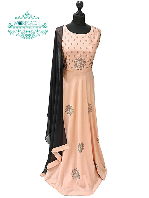 Peach and Black Swaroski Studded Gown (XL)