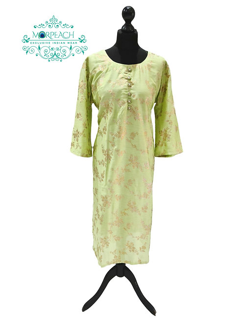 Light Green With Gold Print Kurti (5XL)