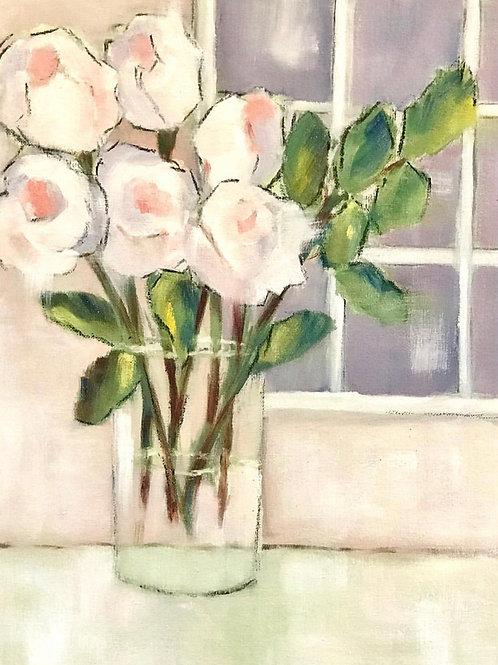 """White Roses 12""""x16"""""""