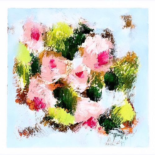 "Pink Blooms II 5""x5"""